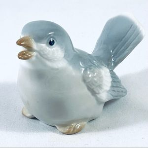 Vintage White & Grey China Bird Ornament Made In Japan
